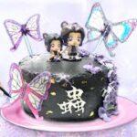 鬼滅の刃【胡蝶しのぶ 蟲の呼吸ケーキ🦋】食べられる紙で蝶を手作り❤︎お絵かきしたり.ヘアカラーの色で可愛いケーキ作り♪アニメフィギュアの色で再現料理&作り方!Demon Slayer Cake