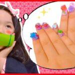 【寸劇】こはる禰豆子はネイルがしたい! 鬼滅の刃のアクアネイルスタジオで爪を可愛くデコっちゃおう♡ おままごと 開封 5歳 おしゃれごっこ